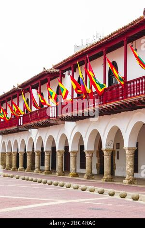 view of the city hall of cartagena colombia - Stock Photo