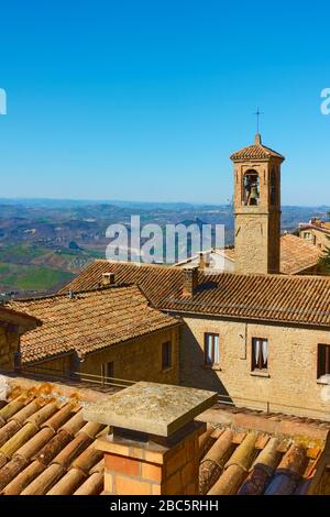 Old houses with tiled roofs and bell tower in San Marino - Landscape, cityscape