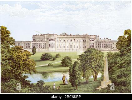 A coloured illustration of Wynyard Park, County Durham scanned at high resolution from a book printed in 1870.  Believed copyright free. - Stock Photo