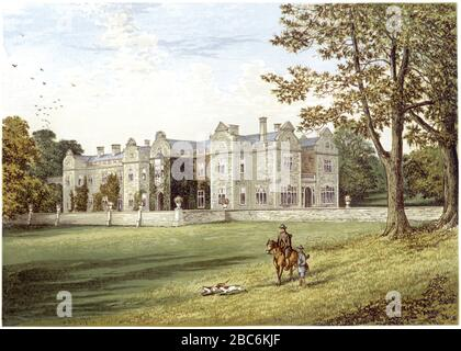 A coloured illustration of Brantingham Thorpe Hall, Yorkshire scanned at high resolution from a book printed in 1870.  Believed copyright free. - Stock Photo
