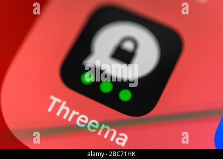Threema, secure messenger service, app icon, display on display of mobile phone, smartphone, detail, full format - Stock Photo