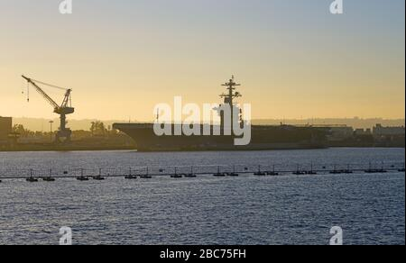 SAN DIEGO, CA -5 JAN 2020- View of the USS Theodore Roosevelt (CVN-71) ship, a United States Navy Nimitz-class nuclear powered aircraft carrier in San - Stock Photo
