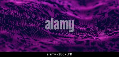 Abstract 3d rendering of technological surface. Modern background design