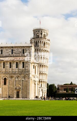 Beautiful Sights of Leaning Tower of Pisa in Piazza dei Miracoli , Tuscany Region, Italy. Stock Photo