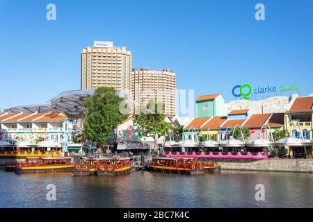 River cruise boats on Singapore River, Clarke Quay, Central Area, Singapore - Stock Photo