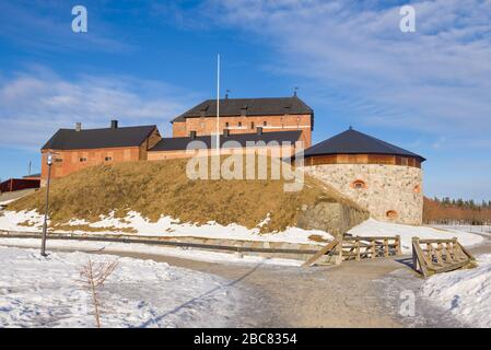 At the ancient fortress of Hameenlinna on a sunny March day. Finland - Stock Photo
