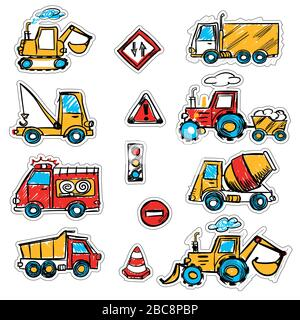 cartoon colored machines. concrete mixer, crane, dump truck , bulldozer, signs. stickers with a cutting outline, on a white isolated background - Stock Photo