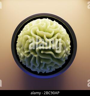 3d organic abstract plastic patterned geometric object in bowl, 3d illustration