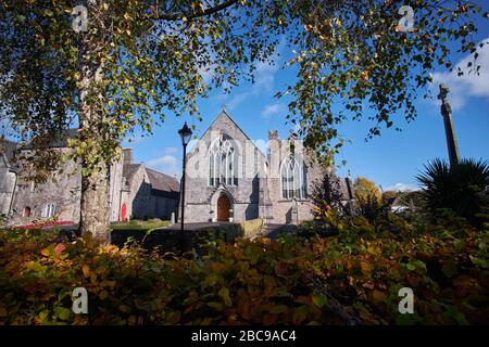 Holy Trinity Abbey Church in Adare, Co Limerick, catholic Church, 13th century viewed from Adare Park - Stock Photo