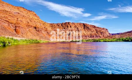 The Colorado River at Paria Beach near Lees Ferry in Marble Canyon, Arizona, United States - Stock Photo