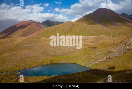 Kyrgyz nature. The Trans-Alay Range. Pamir Mountain System. The lake between mountains. - Stock Photo