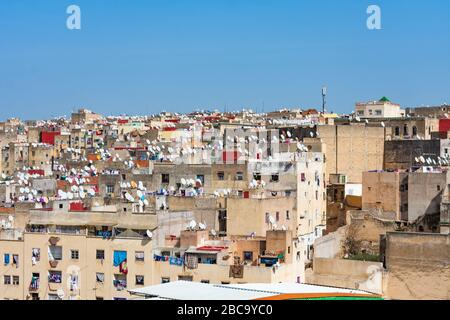 Old Homes and Buildings in the Medina of Fez Morocco - Stock Photo