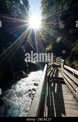 Germany, Bavaria, Upper Bavaria, Berchtesgaden, Ramsau, national park, Wimbachklamm, sun, back light, footpath, wooden footbridge - Stock Photo