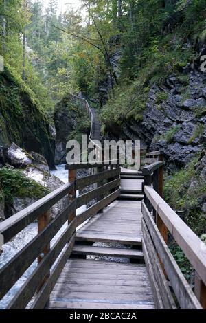 Germany, Bavaria, Upper Bavaria, Berchtesgaden, Ramsau, Wimbachklamm, footpath, wooden footbridge, railing - Stock Photo