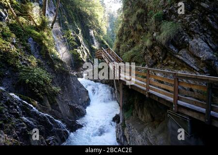 Germany, Bavaria, Upper Bavaria, Berchtesgaden, Ramsau, national park, Wimbachklamm, footpath, wooden footbridge - Stock Photo