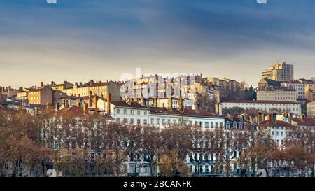 View of the 1st arrondissement in autumn over the Rhone. Lyon has been a UNESCO World Heritage Site since 1998. - Stock Photo