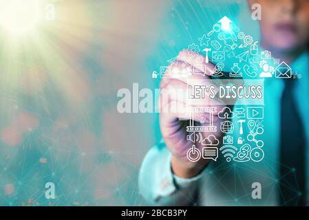 Writing note showing Let Discuss. Business concept for asking someone to talk about something with demonstrating or showing - Stock Photo