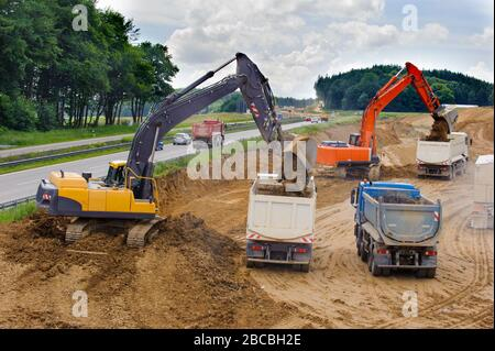 construction site of Autobahn in Germany - Stock Photo