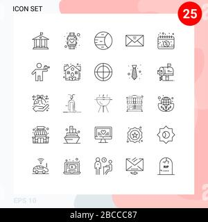 Set of 25 Commercial Lines pack for calendar, message, planet, mail, envelope Editable Vector Design Elements - Stock Photo
