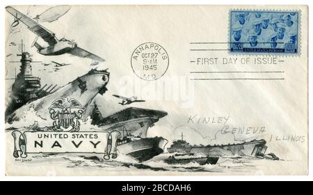 Annapolis, Maryland, The USA, 27 October 1945: US historical envelope: cover with a patriotic cachet United States Navy. American power in the Pacific - Stock Photo