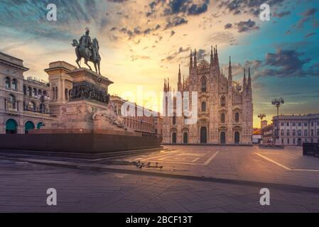 Duomo , Milan gothic cathedral at sunrise,Italy,Europe.Horizontal photo with copy-space. - Stock Photo