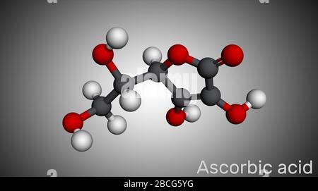 Ascorbic acid, vitamin C, C6H8O6 molecule. Food additive E300. Molecular model. 3D rendering