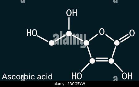 Ascorbic acid, vitamin C, C6H8O6 molecule. Food additive E300. Structural chemical formula on the dark blue background. Illustration