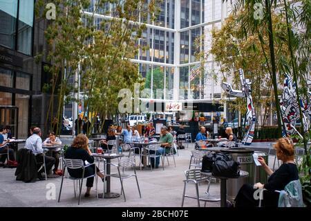 Obika Mozzarella Bar 590 Madison Avenue entrance on 56th Street inside the IBM Building in New York USA - Stock Photo