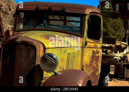 rusting abandoned car. Nelson, Nevada, United States. - Stock Photo