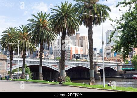 Central Business District (CBD) and Princes Bridge across Yarra River, City Central, Melbourne, Victoria, Australia