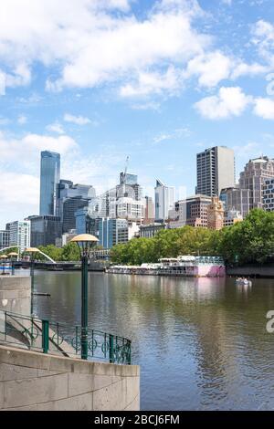 Central Business District (CBD) from Southbank Promenade, Southbank, Melbourne, Victoria, Australia - Stock Photo