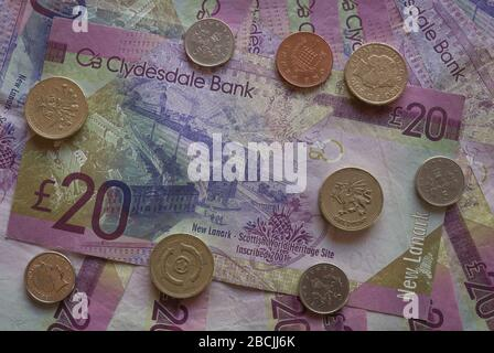 Scottish bank note with cons. - Stock Photo