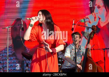 Kiev, Ukraine - May 19, 2019: Performers on the stage of Kleizmer Music Festival on Kontraktov Square