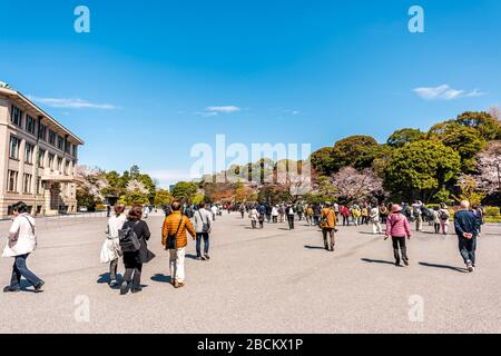 Tokyo, Japan - April 1, 2019: Crowded Imperial palace national gardens park with crowd of people tourists walking by Imperial Household Agency buildin - Stock Photo