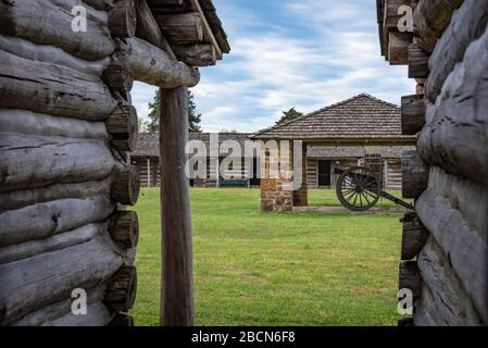 Inside the stockade at Fort Gibson, a historic military site in Oklahoma that guarded the American frontier in Indian Territory from 1824 until 1888. - Stock Photo