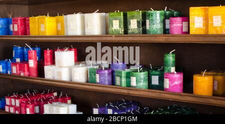 Scented candles on display ant the Balarat Candle store, Balarat, Australia