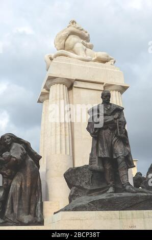 Budapest, Hungary - Nov 6, 2019: Istvan Tisza Monument in the Hungarian capital. Statue complex with sculpture of Hungarian politician and prime minister from the Austria-Hungary era. Vertical photo. - Stock Photo