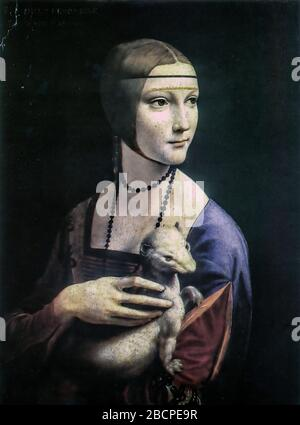 Poland Krakow Muzeum Narodowe - Leonardo Da Vinci - Lady With Ermine (Cecilia Gallerani)  - 1484 - Stock Photo