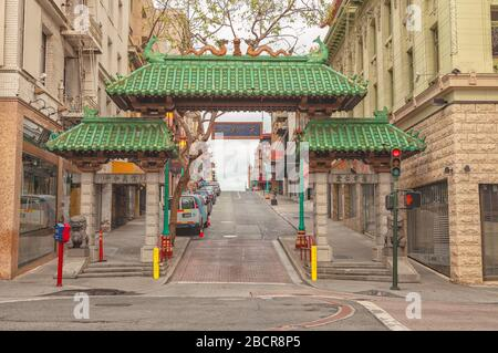 San Francisco Chinatown is empty of tourists and traffic during the city lockdown due to COVID-19 pandemic March 2020, California, USA.