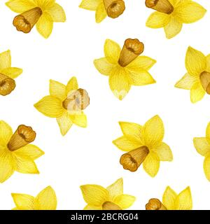 Seamless repeat pattern with yellow daffodil flowers, springtime floral design for fabric, wrapping, scrapbook, wrapping projects, backgrounds, bright - Stock Photo