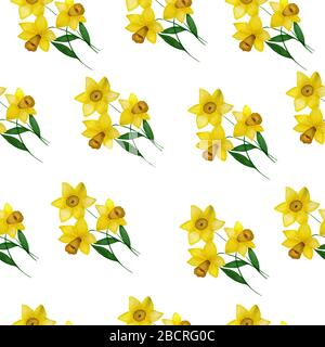 Seamless repeat pattern with yellow daffodil flower bouquet, springtime floral design for fabric, wrapping, scrapbook, wrapping projects, backgrounds, - Stock Photo