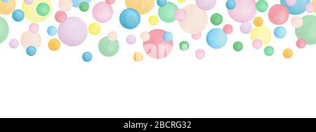 seamless banner design with colorful watercolor bubbles, ornamental decoration with falling bubbles, party background with pastel colored dots design