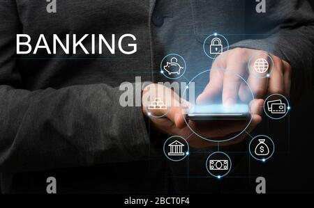 Investor using internet banking application to make money transfer via smartphone, collage with finance icons - Stock Photo