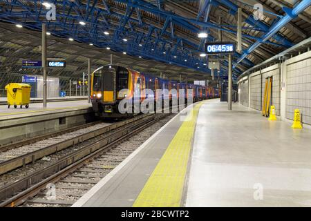 South Western railway Siemens Desiro class 450 trains at London Waterloo railway station in the old Waterloo international Eurostar station platforms - Stock Photo