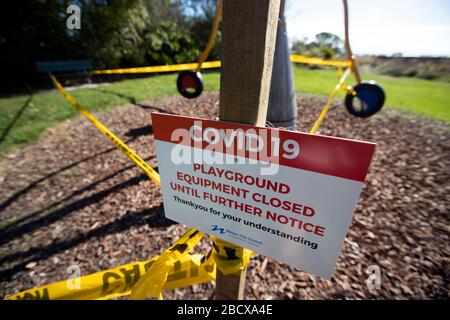 Signs at closed playground due to Covid 19 virus lockdown, Nelson, New Zealand