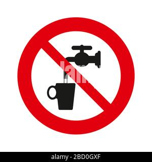 Do not drink water, vector sign. isolated over white background. Vector illustration. - Stock Photo