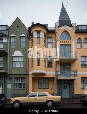 Houses on Huvilakatu Street, Helsinki, Finland, Europe
