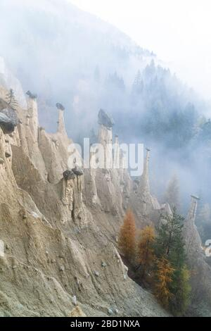 Colorful trees on rocks of the Earth Pyramids in autumn, Perca (Percha), province of Bolzano, South Tyrol, Italy, Europe