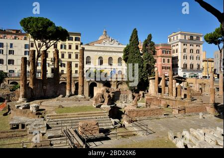 italy, rome, area sacra of largo di torre argentina, temple B (2nd century BC) and temple of juturna (3rd century BC) - Stock Photo