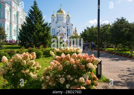 DIVEEVO, RUSSIA - AUGUST 25, 2019: Trinity Cathedral of the Trinity Seraphim-Diveevo monastery in the village of Diveevo